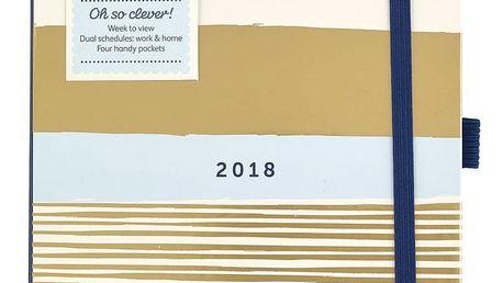 Busy B Diář 2018 Busy Life Diary Contemporary A5, modrá barva, bílá barva, zlatá barva, papír