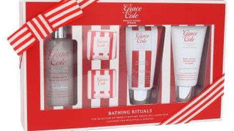 Grace Cole Frosted Cherry & Vanilla dárková kazeta pro ženy pěna do koupele Freshen 100 ml + sprchový gel Uplifting 75 ml + tělové mléko Luxurious 75 ml + šumivá tableta 2 x 25 g