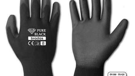 Pracovní rukavice PURE BLACK, velikost 8