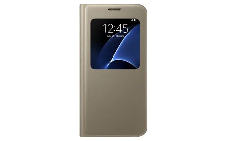 Pouzdro na mobil flipové Samsung pro Galaxy S7 (EF-CG930P) (EF-CG930PFEGWW) zlaté