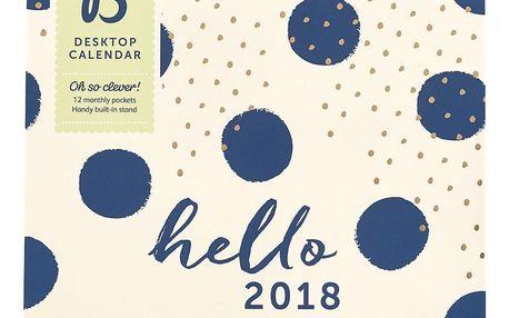 Busy B Stolní diář 2018 Fashion, modrá barva, zlatá barva, papír