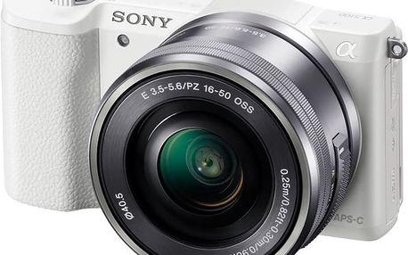 Sony Alpha 5100 + 16-50mm, bílá - ILCE5100LW.CEC + Přenosný zdroj Sony CP-ELS v ceně 500 Kč
