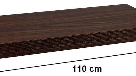 STILISTA 31082 Nástěnná police VOLATO - tmavé dřevo 110 cm