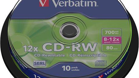Verbatim CDRW 12x 80min/700MB, 10ks, spindle - 43480