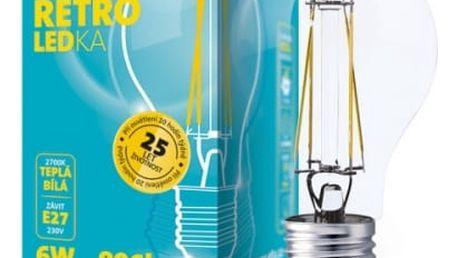 Žárovka LED ETA RETRO LEDka klasik, 6W, E27, teplá bílá (ETA789090006) průhledná