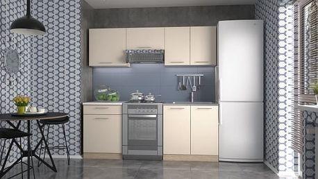 Marija 200 - Kuchyňský blok, 200 cm (vanilka, dub sonoma, bílá)