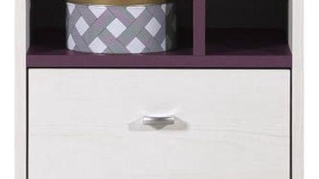 Stone - Noční stolek ST13 (bílá, fialová)