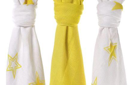 KIKKO Bambusové pleny Stars 70x70 (3 ks) – lemon