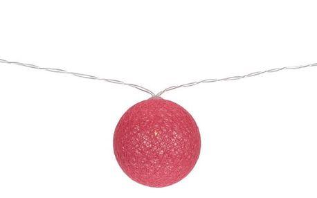 Světelný LED řetěz s 10 kouličkami, růžová