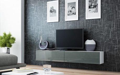 Vigo - TV komoda 180 (bílá/šedá lesk)