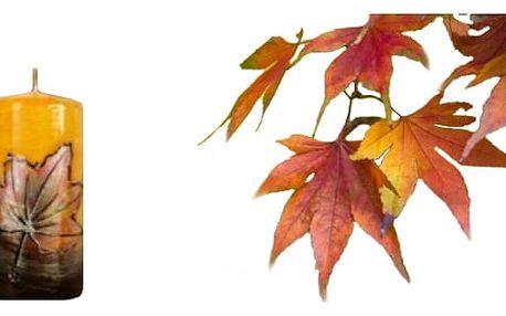 Přivítejte podzim svíčkou s motivem listu.Krásná dekorace pro váš interiér.
