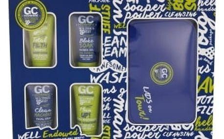 Grace Cole Homme Bloke Soak dárková kazeta pro muže sprchový gel Bloke Soak 50 ml + šampon Total Filth 50 ml + čisticí přípravek Clean Machine 50 ml + pleťová péče Man Up! 50 ml + kosmetická taška