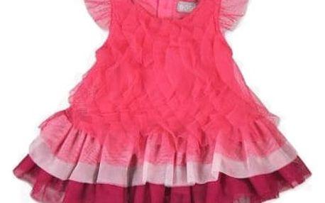 BOBOLI Volánkové šaty, vel. 80 cm - tmavě růžová, holka