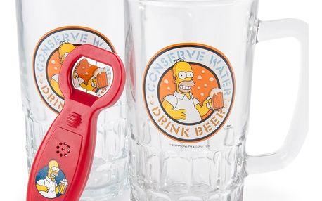 Dárkové balení pivních sklenic The Simpsons/Simpsnovi: Set 2 kusy (objem 500 ml) [0117605] CurePink