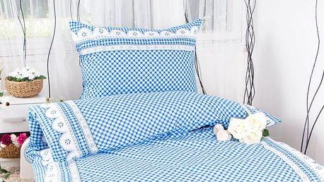 XPOSE ® Bavlněné povlečení na dvě lůžka APOLENA - modrá 140x200, 70x90