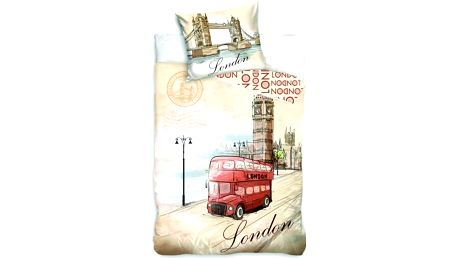 Jerry Fabrics Bavlněné povlečení LONDÝN - AUTOBUS 140x200 70x90