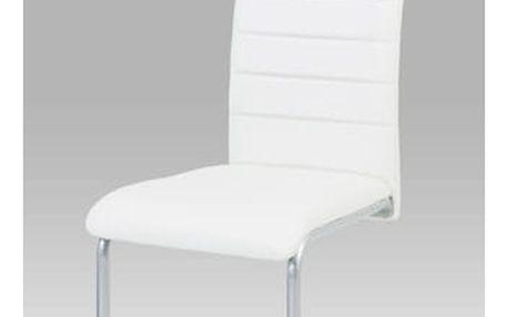 Jídelní židle, koženka bílá / šedý lak Autronic