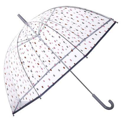 Bloomingville Průhledný deštník Dash, růžová barva, šedá barva, čirá barva, kov, plast