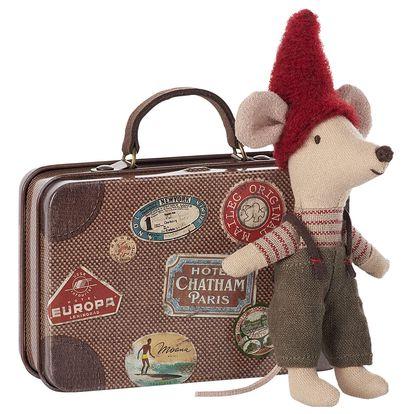 Maileg Vánoční Myšák v plechovém kufříku, červená barva, béžová barva, hnědá barva, kov, textil