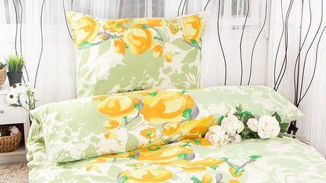 XPOSE ® Prodloužené bavlněné povlečení VANESA - žlutá 140x220, 70x90