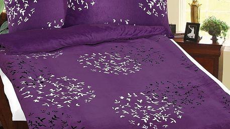 Bellatex Povlečení mikroflanel Lupínky fialová, 140 x 200 cm, 70 x 90 cm