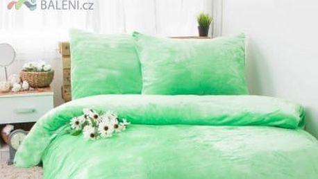 XPOSE ® Francouzské povlečení mikroflanel JORGA - světle zelená 200x240, 70x90