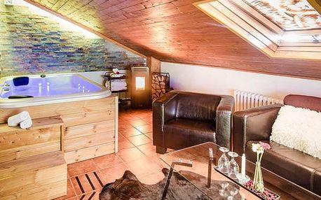 Luxusní wellness apartmá s neomezenou soukromou vířivkou a kinotelevizí v Moravském krasu