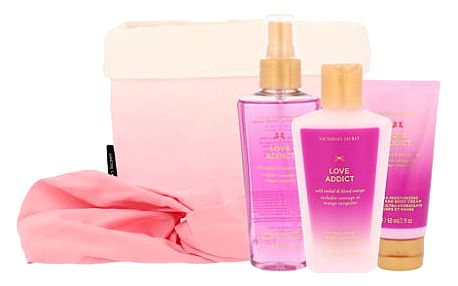 Victoria´s Secret Love Addict dárková sada W - vyživující tělový spray 125 ml + tělový krém 60 ml + tělové mléko 125 ml + čelenka + látkový košík