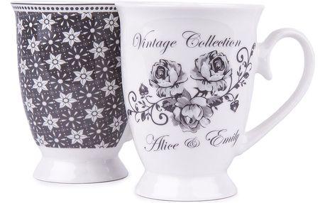 2dílná sada hrnků Emily, porcelán, šedo-bílá