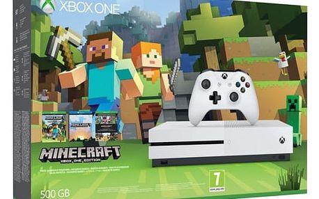 Herní konzole Microsoft 500 GB + sada Minecraft (ZQ9-00047) bílá