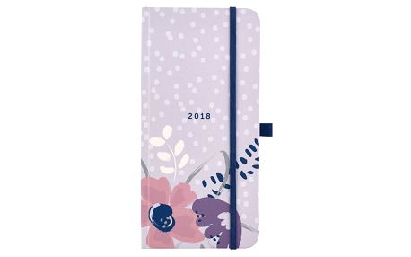 Busy B Diář 2018 Slim diary Pretty, růžová barva, fialová barva, modrá barva, papír