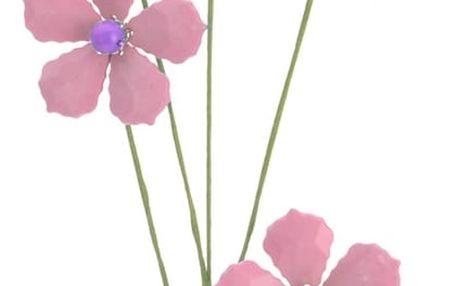Dekorační květina z korálků světle růžová, 68 cm
