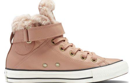 Converse pudrové kožené boty Brea s kožíškem