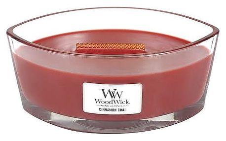 WoodWick Vonná svíčka WoodWick - Skořice a chai 454 g, červená barva, sklo, dřevo