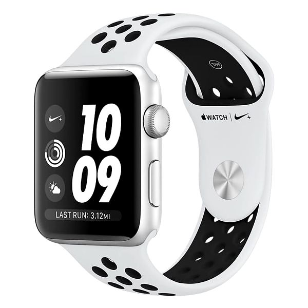 Apple Watch series 3 42mm NIKE+ pouzdro stříbrná/platinovo černý řemínek - MQL32CN/A