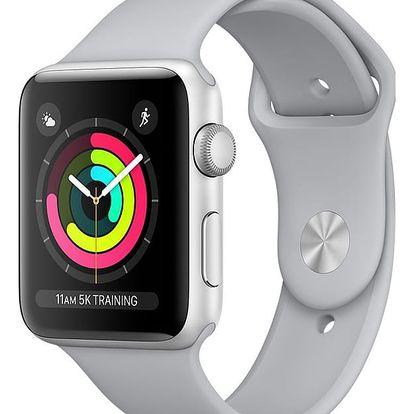 Apple Watch series 3 42mm pouzdro stříbrná/mlhově šedý řemínek - MQL02CN/A