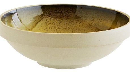 MADAM STOLTZ Keramická mísa Pottery Yellow, žlutá barva, béžová barva, hnědá barva, keramika