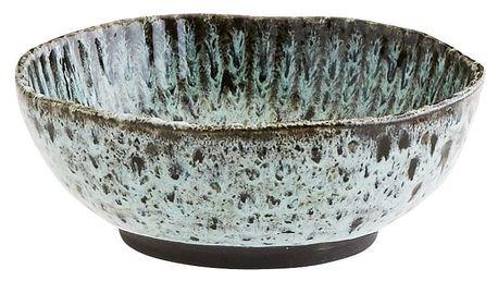 MADAM STOLTZ Kameninová miska Green/black, modrá barva, zelená barva, keramika