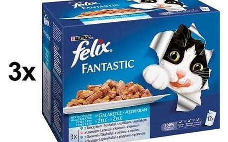 Kapsička Felix Fantastic výběr z ryb 3 x (12 x 100g)