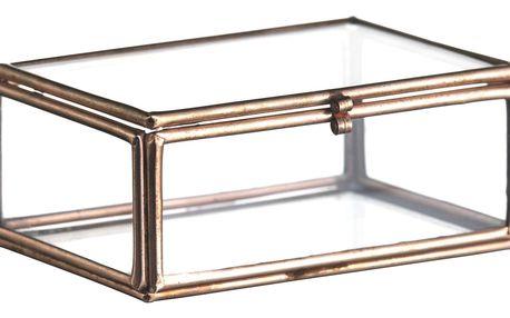 MADAM STOLTZ Skleněný box Copper - menší, měděná barva, sklo, kov