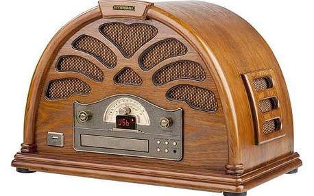 Radiopřijímač s CD Hyundai Retro RC 403 U dřevo + Doprava zdarma