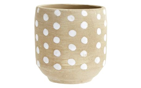 MADAM STOLTZ Keramický obal na květináč Dots, bílá barva, hnědá barva, keramika