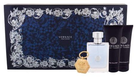 Versace Pour Homme dárková kazeta pro muže toaletní voda 100 ml + balzám po holení 100 ml + sprchový gel 100 ml + klíčenka