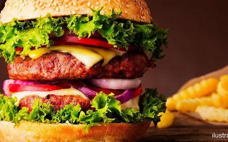 Poctivý hovězí XXL burger s domácími hranolky