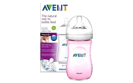 AVENT Kojenecká láhev Natural 260 ml + Natural 260 ml růžová