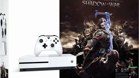 XBOX ONE S, 500GB, bílá + Middle-Earth: Shadow of War - ZQ9-00165 + Druhý ovladač Xbox, bílý v ceně 1400 kč