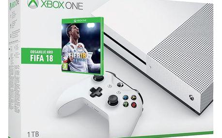 XBOX ONE S, 1TB, bílá - 234-00012 + Hra FIFA 18 (Xbox ONE) v ceně 1800 Kč + Druhý ovladač Xbox, bílý v ceně 1400 kč