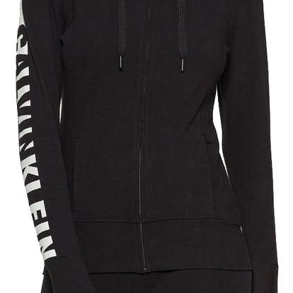 Calvin Klein černá mikina Top Hoodie Zip s šedým nápisem