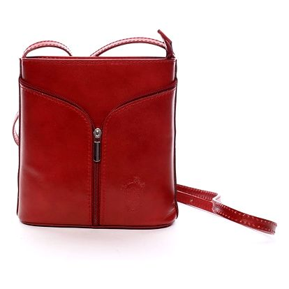 Dámská kožená crossbody kabelka červená - ItalY Hallie červená