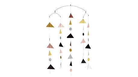 MADAM STOLTZ Závěsná dekorace Geometry Glitter, růžová barva, multi barva, zlatá barva, kov, papír